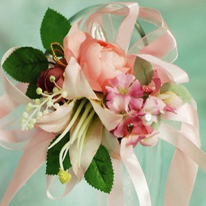 Gentle Warm Pink Silk Cloth Flower Wedding Bride Wrist Corsage