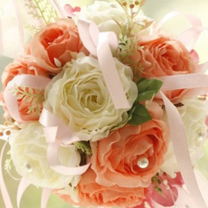 Colorful Orange And White Silk Cloth Wedding Bouquet For Bride