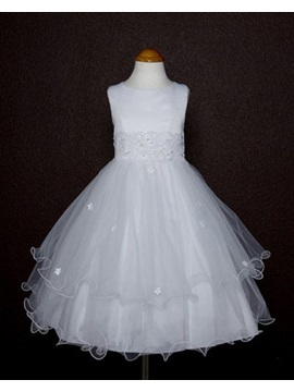Elegant A Line Tea Length Round Neck Appliques Flower Girl Dress