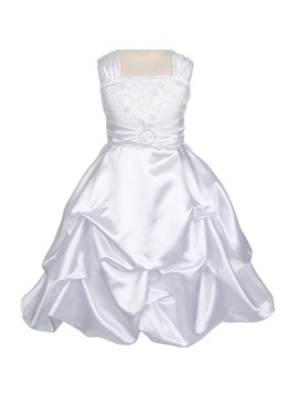 Beautiful A Line Square Lace Flower Girl Dress
