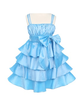 Amazing Square A Line Knee Length Tiered Bowknot Color Flower Girl Dress