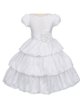 Ball Gown Tea Length Bateau Short Sleeve Tiered Flower Girl Dress