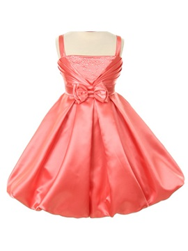 A Line Princess Tea Length Square Bowknot Flower Girl Dress