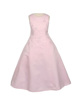 A Line Round Neck Floor Length Embroidery Flower Girl Dress