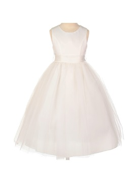 Amazing Ball Gown Tea Length Bowknot Scoop Flower Girl Dress