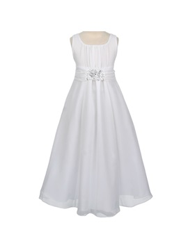 Amazing A Line Square Beaded Floor Length Flower Girl Dress