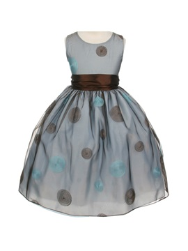 Ball Gown Round Neck Tea Length Bowknot Pattern Flower Girl Dress