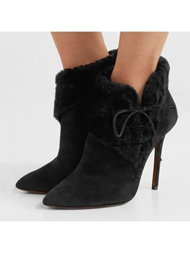 Pointed Toe Plain Stiletto Heel Customized Ankle Boots