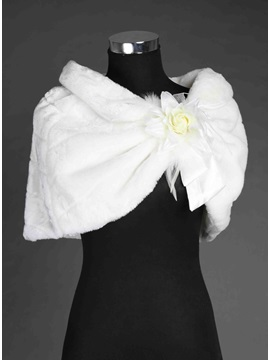 New Style Collar Flowers Faux Fur Wedding Shawl