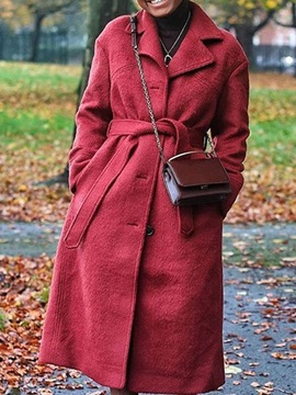 Regular A Line Single Breasted Long Notched Lapel Womens Overcoat