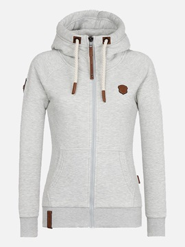 Regular Zipper Hooded Standard Womens Hoodie