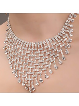 Multilayers Alloy And Rhinestone Necklace Hc