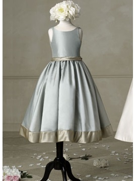 Enchanting Scoop Tea Length Sleeveless Flower Girl Dress