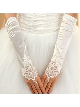 Delicate Long Fingerless Wrinkle Wedding Gloves 4colors