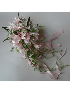 Pink Silk Cloth Lily Wedding Bridal Bouquet With Pink Ribbon