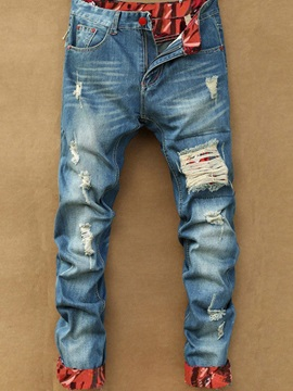 Pocketed Color Block Zipper Style Mens Jeans