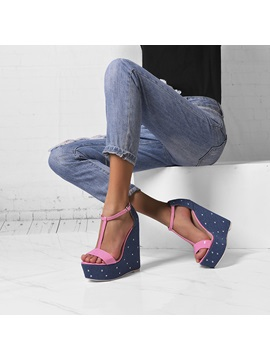 Customized Buckle Open Toe Wedge Sandals