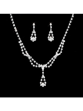 Faddish Alloy With Rhinestone Wedding Jewelry Set Including Necklace And Earrings