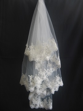Brilliant Fingertip Wedding Veil With Applique Edge