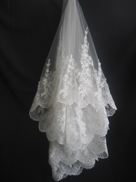Tidebuy Fingertip Style Wedding Veil With Lace Applique Edge