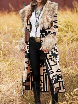 Faux Fur Hooded Patchwork Long Loose Fashion Womens Trench Coat