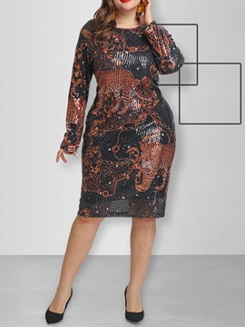 Plus Size Sequins Round Neck Mid Calf Animal Spring Womens Dress