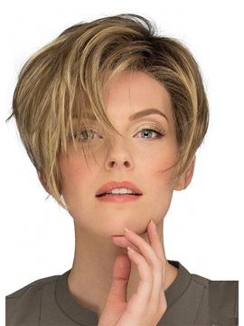 Fashion Womens Pixie Cut Side Part Bnags Hairstyles Synthetic Hair Wigs Natural Straight Capless Wigs 10inch