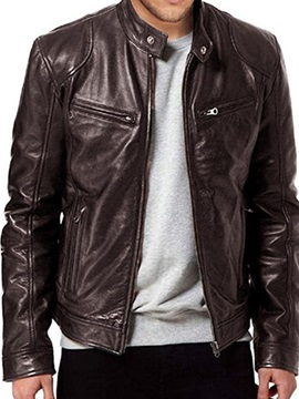 Stand Collar Plain Color Fashion Casual Style Mens Leather Jacket