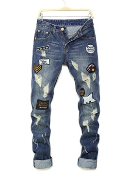 Letter Pencil Hole Casual Style Mens Jeans