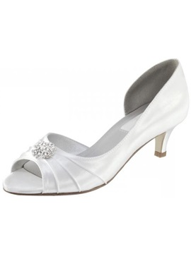 Leatherette Upper Mid Heel Peep Toes Pumps With Rhinestones Wedding Shoes