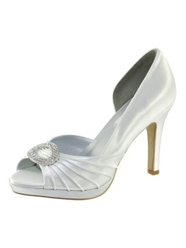 Leatherette Upper Stiletto Heel Peep Toes With Rhinestone Wedding Shoes