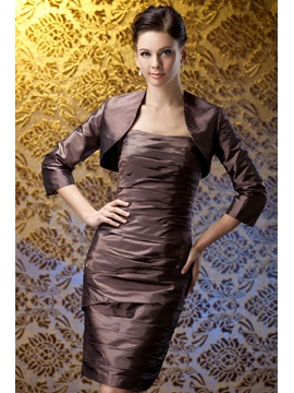 Delicate Ruched Knee Length Sheath Mother Of The Bride Dress With Jacket Shawl
