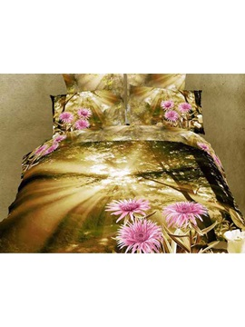 Warm Toned 4 Piece Brilliant Sunshine And Light Purple Flowers Printing Bedding Sets