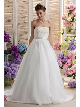 Miraculous A Line Strapless Floor Length Appliques Chapel Darias Wedding Dress