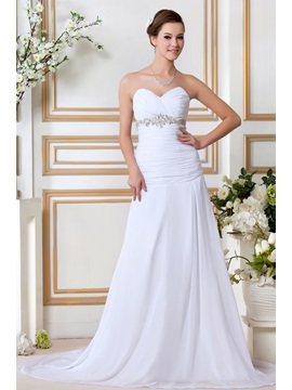 Sweeping Train A Line Sweetheart Strapless Beading Sandras Wedding Dress