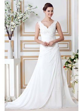Appliques V Neck Button Chiffon Wedding Dress