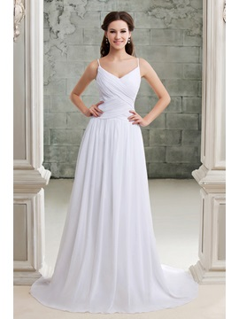 Concise Spaghetti Straps Ruched V Neck Floor Length A Line Beach Wedding Dress