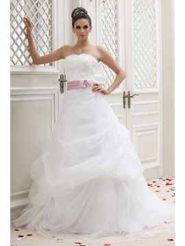 Strapless A Line Chapel Ruched Talines Wedding Dress