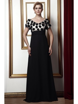 A Line V Neck Floor Length Alinas Mother Of The Bride Dress