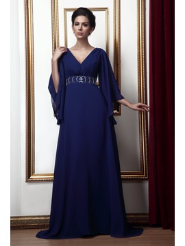 Gorgeous V Neck Beaded Waist Mother Of The Bride Dress With Sleeves