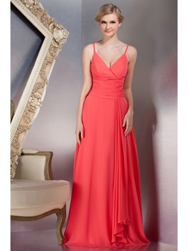 Chic A Line Floor Length Spaghetti Straps Yanas Bridesmaid Dress