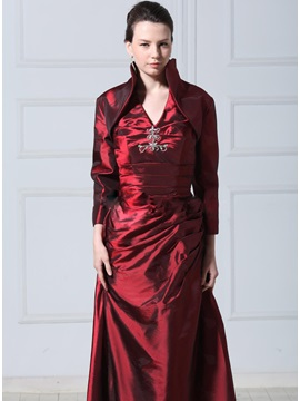Long Sleeve Deep Claret Red Wedding Jacket Wraps