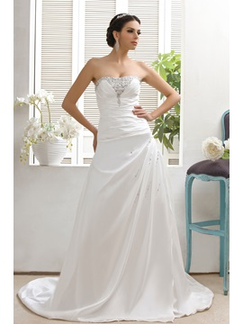 Simple Style A Line Strapless Sleeveless Chapel Lace Up Talines Beach Wedding Dress