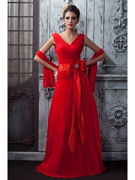 Floor Length A Line Ruched V Neck Red Chiffon Talines Long Bridesmaid Dress With Shawl