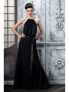 Elegant Black Pearls Halter Floor Length Polinas Evening Dress