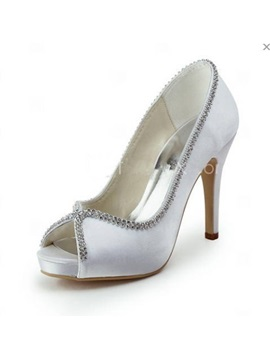 Beautiful Satin Upper Heel Peep Toes Wedding Shoes