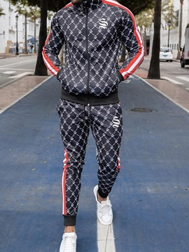Casual Letter Print Winter Mens Outfit