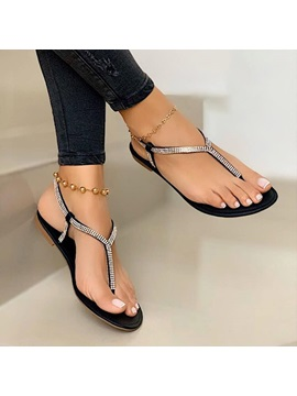 Flat With Thong Slip On Plain Sandals