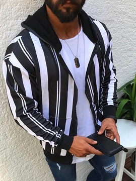 Hooded Stripe Patchwork Fall Mens Jacket