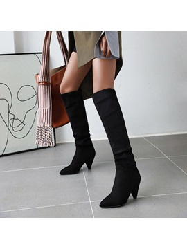 Pointed Toe Slip On Color Block Boots